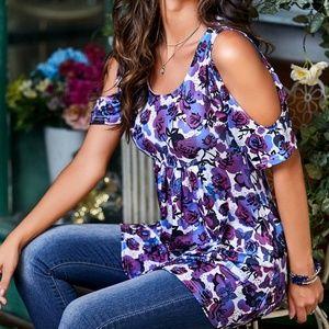 Purple & Blue Floral Open-Shoulder Empire-Waist